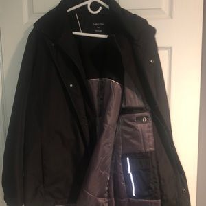 Black Calvin Klein water and wind resistant coat
